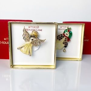 Macy's Holiday Lane Angel and Snowman Brooches